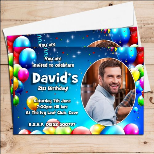 10 Personalised Birthday Balloons Party PHOTO Invitations N221